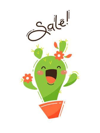 Joyful cactus reports a sale. Vector illustration in cartoon style. Illustration