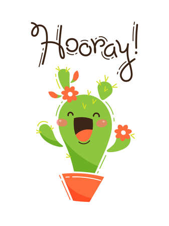 Funny cactus yells Hooray. Vector illustration in cartoon style. Иллюстрация