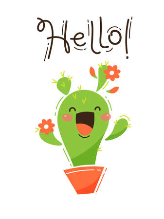 A happy cactus greets you Hello. Vector illustration in cartoon style. Ilustração