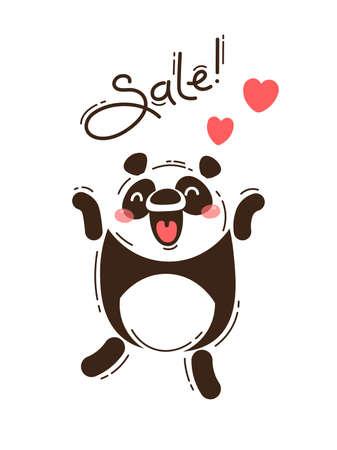 A joyful panda reports a sale. Vector illustration in cartoon style Standard-Bild - 121111486