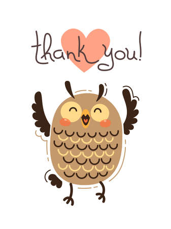 Funny owl says thank you. Vector illustration in cartoon style.