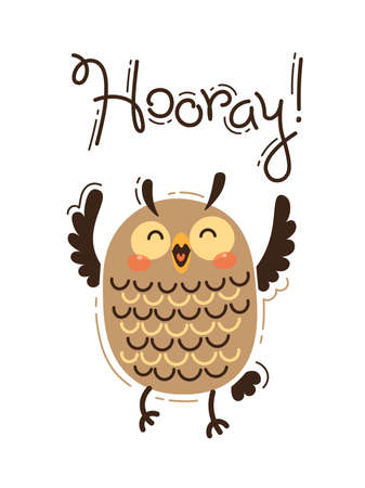 Funny owl yells Hooray. Vector illustration in cartoon style.