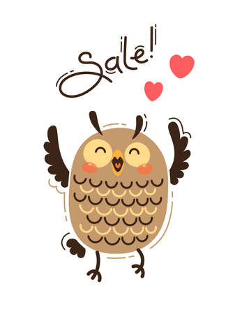 A joyful owl reports a sale. Vector illustration in cartoon style. 일러스트
