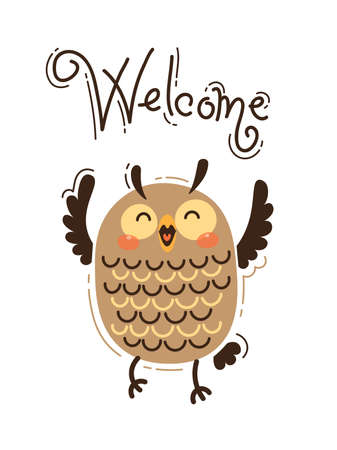 A happy owl greets Welcome. Vector illustration in cartoon style.