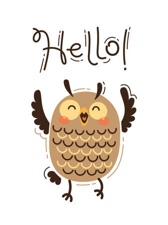A happy owl greets you Hello. Vector illustration in cartoon style.