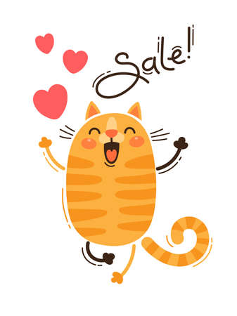 A joyful cat reports a sale. Vector illustration in cartoon style.