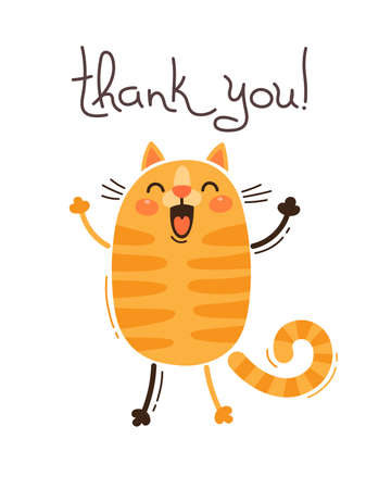 Funny cat says thank you. Vector illustration in cartoon style.