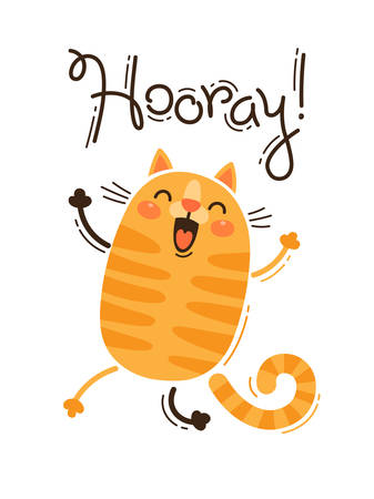 Funny cat yells Hooray. Vector illustration in cartoon style. Ilustracja