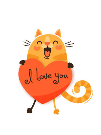 A happy cat with a valentine and message I love you. Vector illustration in cartoon style.