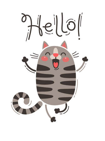 A happy cat greets you Hello. Vector illustration in cartoon style. 일러스트