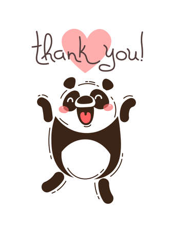 Funny panda says thank you. Vector illustration in cartoon style.