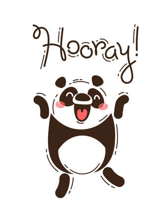 Funny panda yells Hooray. Vector illustration in cartoon style.