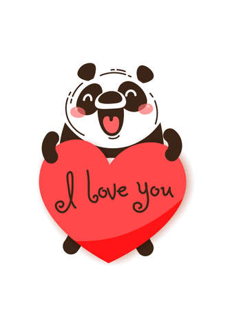 A happy panda with a valentine and message I love you. Vector illustration in cartoon style.