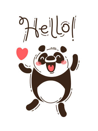 A happy panda greets you Hello. Vector illustration in cartoon style. Ilustração