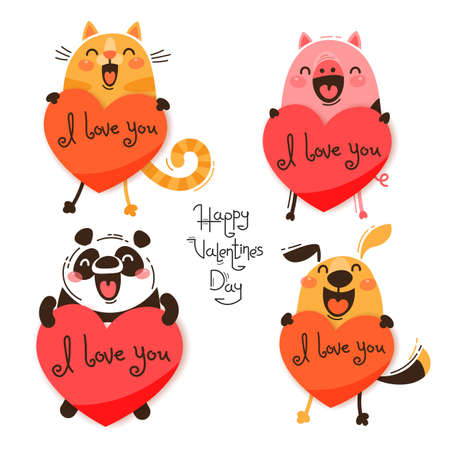 Set of cute animals with valentines. Funny cat, pig, panda and dog confess I love you. Isolated vector illustration for Valentines Day designs.