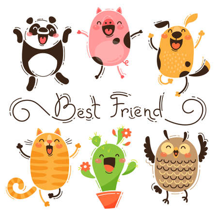 Panda, Pig, Dog, Cat and Owl Best Friends. Isolated Vector Images of Funny Animals and Cactus. Happy Friendship Day.