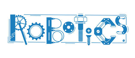 Robotics word. The inscription and letters are stylized in the form of details of robots and mechanisms. Vector illustration.