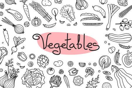 Fond avec divers légumes et une inscription pour la conception de menus, les recettes et l'emballage des produits. Illustration vectorielle.