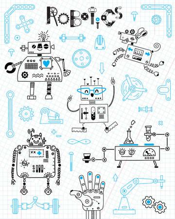 Robotics for kids. Set of design elements. Robots and details for construction. Vector illustration.