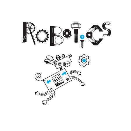 Dog cute robot and the inscription Robotics of the details and gears. Vector illustration.