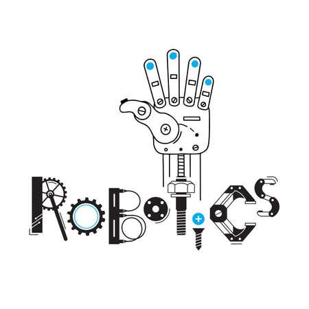 Brazo mecánico del robot y la inscripción Robótica de los detalles y engranajes. Ilustración vectorial.