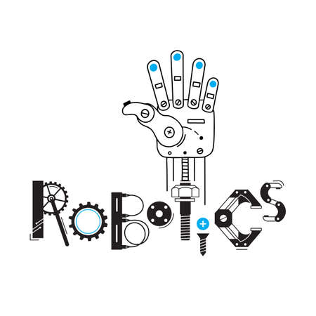 Mechanical arm from the robot and the inscription Robotics of the details and gears. Vector illustration.