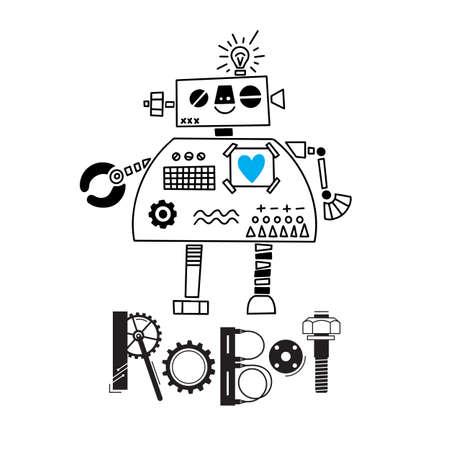 pequeño robot lindo y la inscripción de los detalles y engranajes. Ilustración vectorial Ilustración de vector