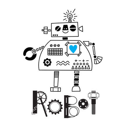 little cute robot and the inscription of the details and gears. Vector illustration