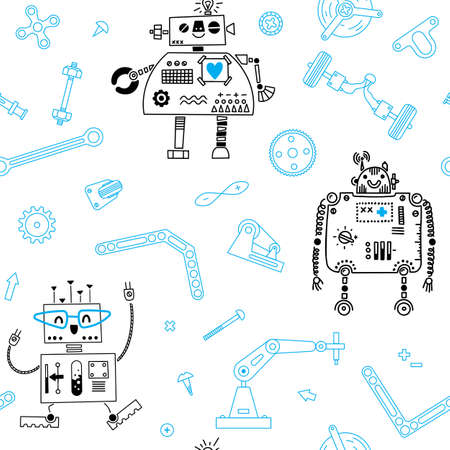 Seamless pattern with Robots and details for construction Robotics. Vector illustration
