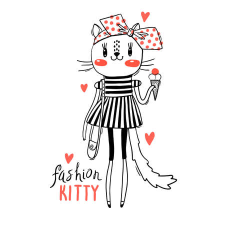 Fashion kawaii kitty. Vector illustration of a cat in fashionable clothes. Can be used for t-shirt print, kids wear design, baby shower card.