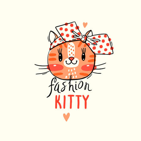Fashion kawaii kitty. Vector illustration of a cat face with a bow. Can be used for t-shirt print, kids wear design, baby shower card.
