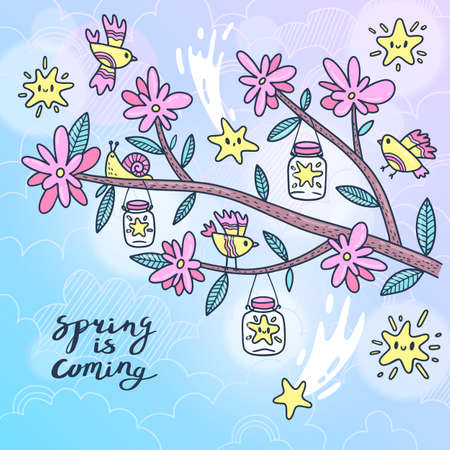 Card blooming tree branch with birds and stars. Vector illustration. Ilustracja