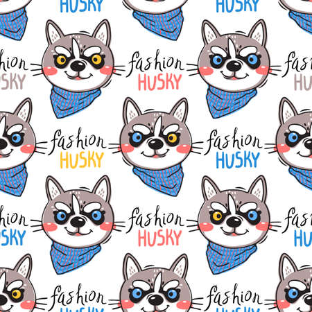 Portrait puppys and inscription fashion husky. Dog in a bandana around his neck. Seamless pattern in cartoon style