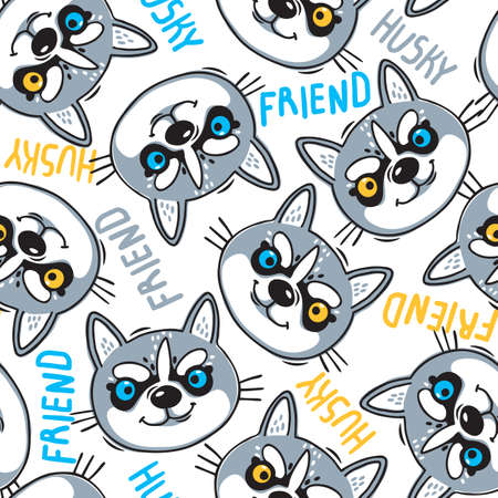 Fashionable seamless pattern with dogs husky noses puppies and inscriptions friend. Vector illustration in cartoon style.
