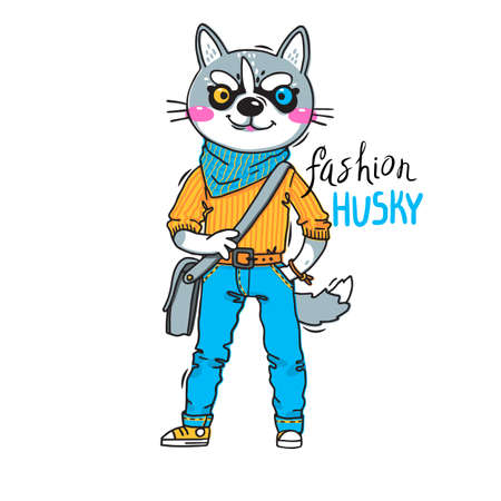 Puppy in fashionable clothes. Fashion husky. Print for t-shirt design, covers, cards. Vector illustration