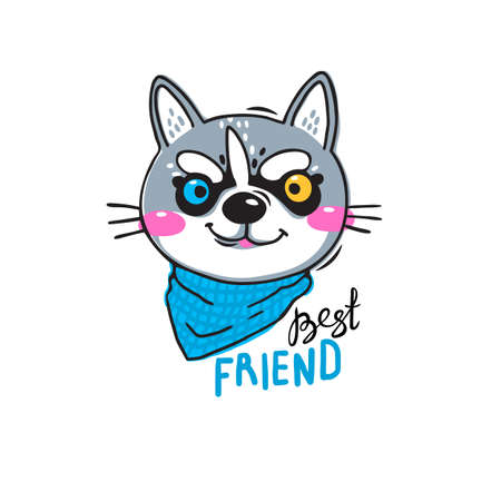 Portrait husky puppy best friend. Print for t-shirt design, covers, cards. Vector illustration in cartoon style Illustration
