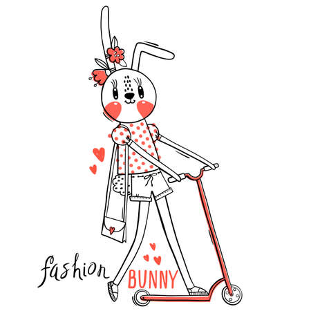 Fashion kawaii bunny. Vector illustration of a rabbit in fashionable clothes riding a scooter. Can be used for t-shirt print, kids wear design, baby shower card. 일러스트