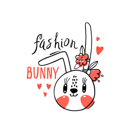 Fashion kawaii bunny. Vector illustration of a rabbit face with a barrettes flowers. Can be used for t-shirt print, kids wear design, baby shower card.