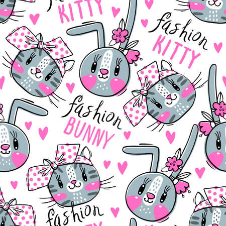 Seamless pattern with faces of cats and rabbits in hairpins bows. Fashion kawaii bunny and kitty. Vector illustration.