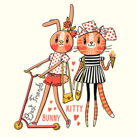 Cute card with best friends. Baby kitten and bunny in fashionable clothes. Can be used for t-shirt print, kids wear design. Vector illustration.