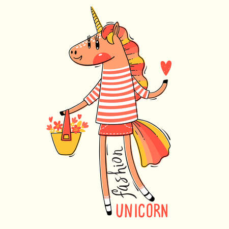 Vector illustration of a Rainbow Unicorn in fashionable clothes. Fashion kawaii animal. Can be used for t-shirt print, kids wear design, baby shower card. Ilustración de vector