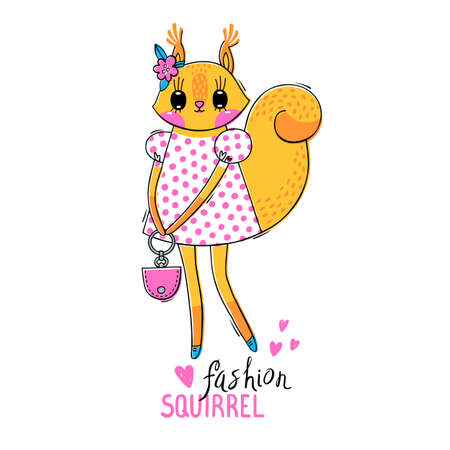 Fashion kawaii animal. Vector illustration of a squirrel in fashionable clothes. Can be used for t-shirt print, kids wear design, baby shower card. Illustration