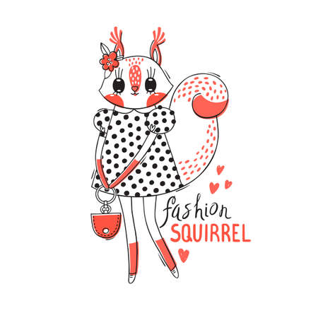 Fashion kawaii animal. Vector illustration of a squirrel in fashionable clothes. Can be used for t-shirt print, kids wear design, baby shower card. Ilustrace