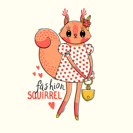 Fashion kawaii animal. Vector illustration of a squirrel in fashionable clothes. Can be used for t-shirt print, kids wear design, baby shower card. Ilustração
