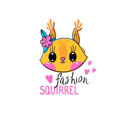 Fashion kawaii animal. Vector illustration of a squirrel face with a barrettes flowers. Can be used for t-shirt print, kids wear design, baby shower card. Ilustrace
