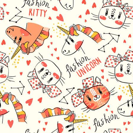 Modèle sans couture avec des visages de chats et de licorne arc-en-ciel. Animal kawaii de mode. Illustration vectorielle. Vecteurs