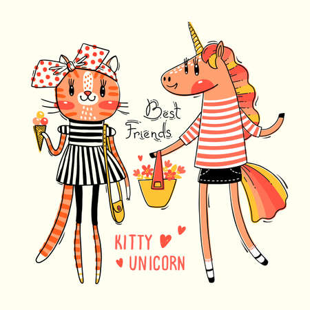 Cute card with best friends. Baby kitten and rainbow unicorn in fashionable clothes. Can be used for t-shirt print, kids wear design. Vector illustration. Иллюстрация