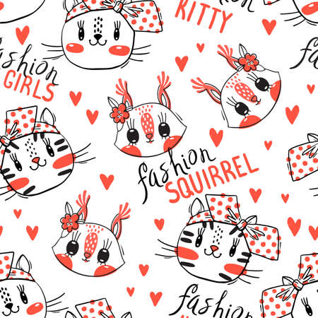 Seamless pattern with faces of cats and squirrel. Fashion girls. Kawaii animal. Vector illustration. Çizim