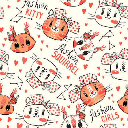 Seamless pattern with faces of cats and squirrel. Fashion girls. Kawaii animal. Vector illustration. 일러스트