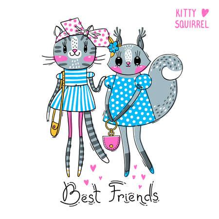 Biglietto carino con i migliori amici. Ragazze fashion. Gattino e scoiattolo in abiti alla moda. Può essere utilizzato per la stampa di t-shirt, il design di abbigliamento per bambini. Illustrazione vettoriale.